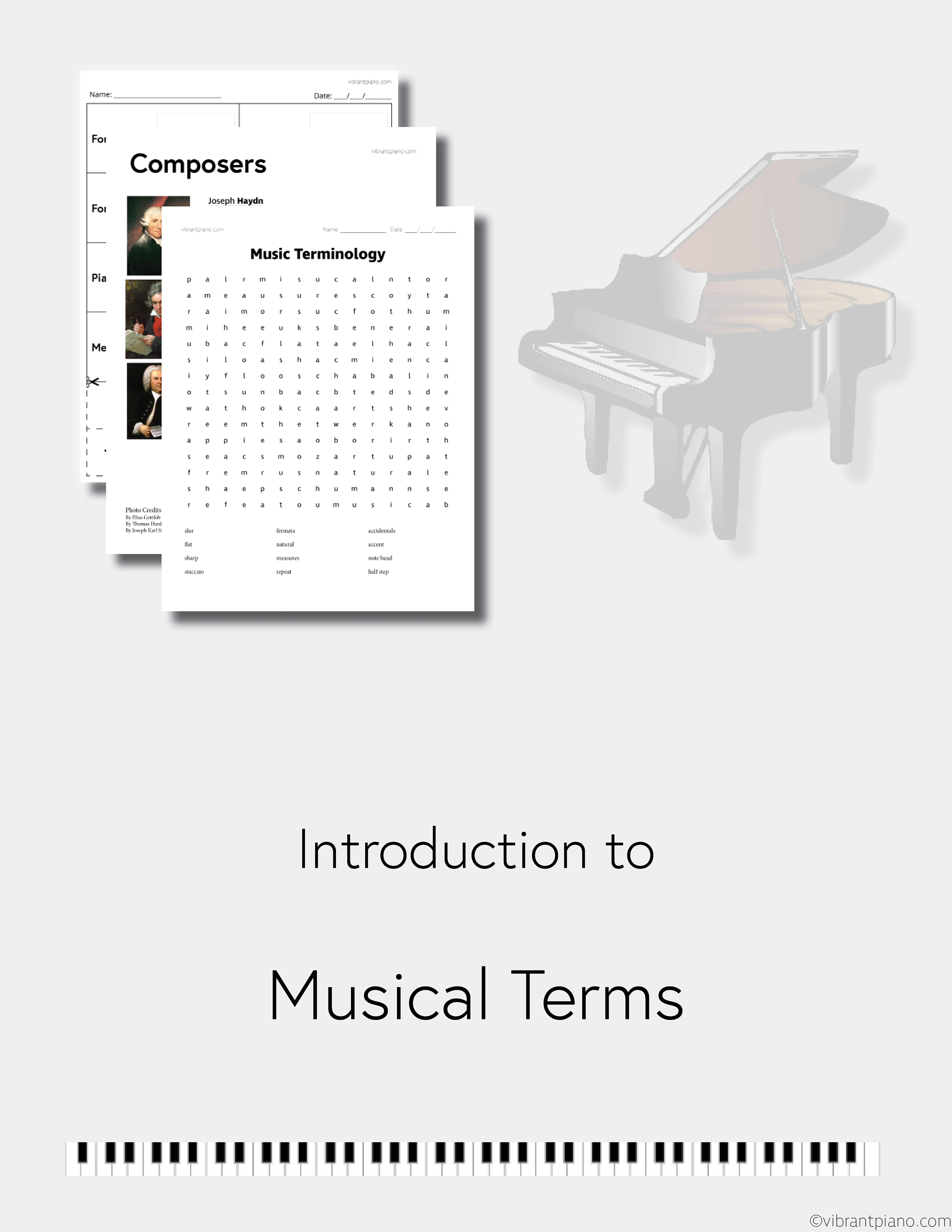 Beginner Music Theory Worksheet Pack Vibrant Piano