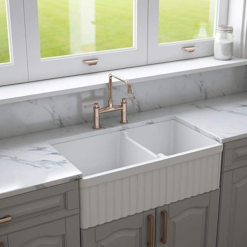 Crestwood 33 Fireclay Farmhouse Sink 50 50 Double Bowl White Cw Cl 332 Dbl White Fireclay Farmhouse Sink Farmhouse Sink Sink