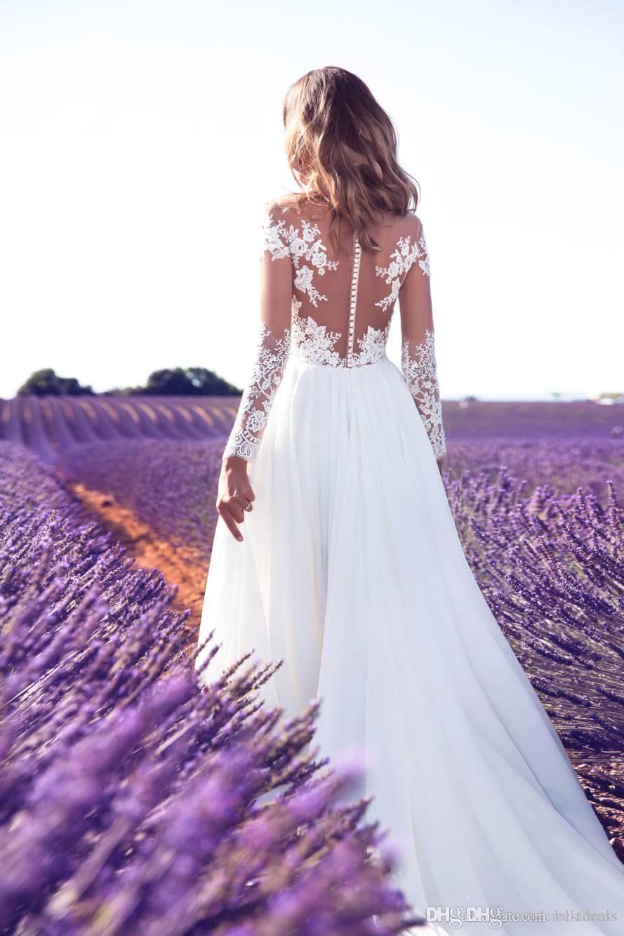 Lace wedding dress cheap december 2018 Milla Nova  Long Sleeves Lace Wedding Dresses with High Split A