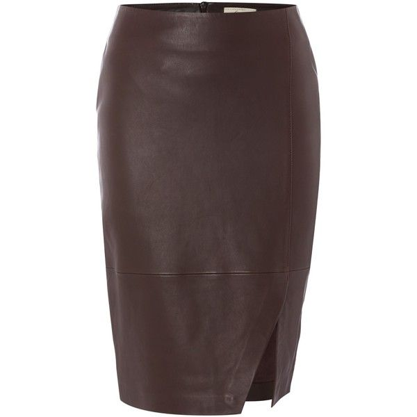 Linea Limited leather skirt (12.795 RUB) ❤ liked on Polyvore featuring skirts, berry, women, leather skirts, pencil skirts, leather pencil skirt, knee length leather skirt and knee length pencil skirt