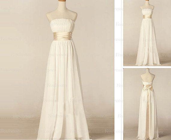 ivory prom dress long prom dress sleeveless prom by Yesdresses, $119.00