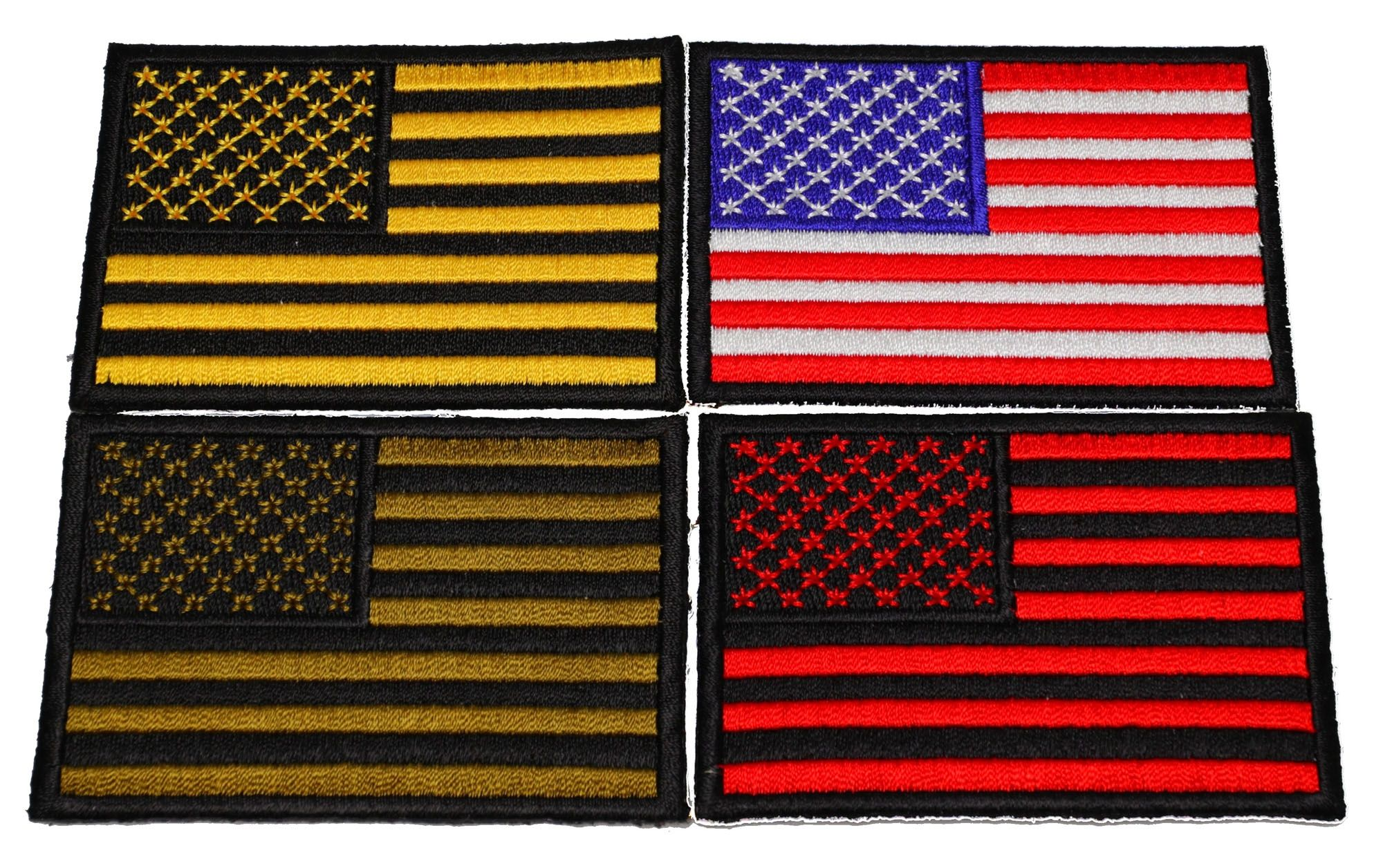Set Of 4 Black Bordered Us Flag Patches In Different Colors Thecheapplace Flag Patches Embroidered Patches Different Colors