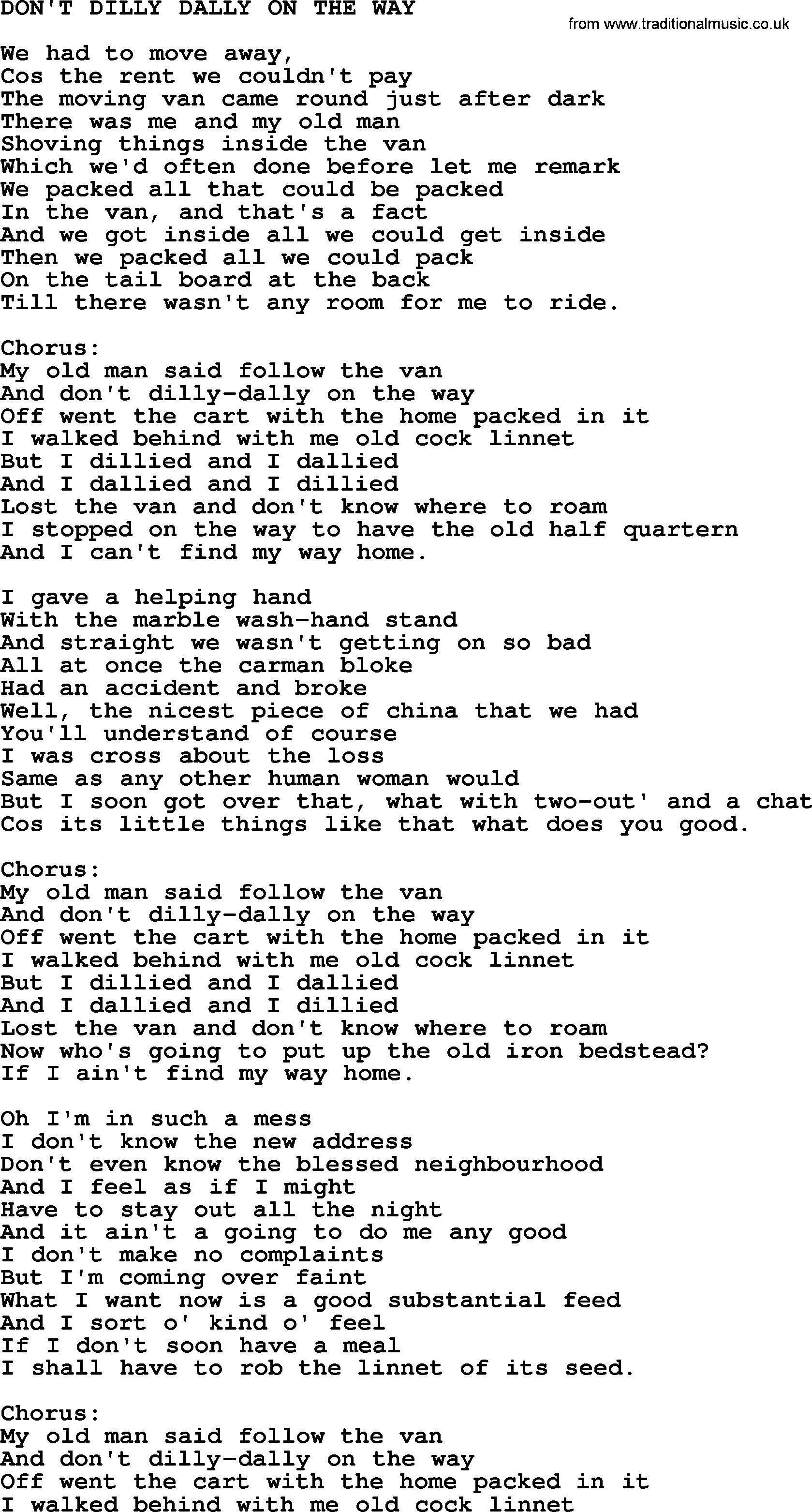 One song lyrics