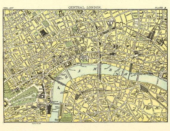 London Map Printable.Map Of London In The 19th Century Printable Digital Download No