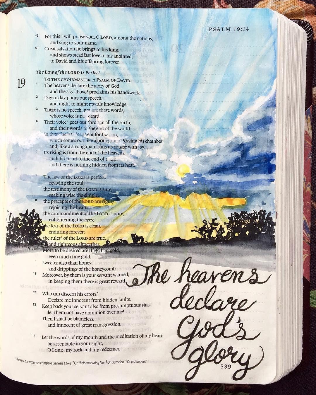 Psalm 19:1 #craftedword #hiskingdomcome #faithartjournaling