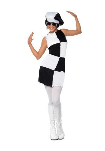 5a02c5a4c66da3 Smiffy's - Costume per travestimento Anni '60, Donna, colore: Nero/Bianco,  taglia: S