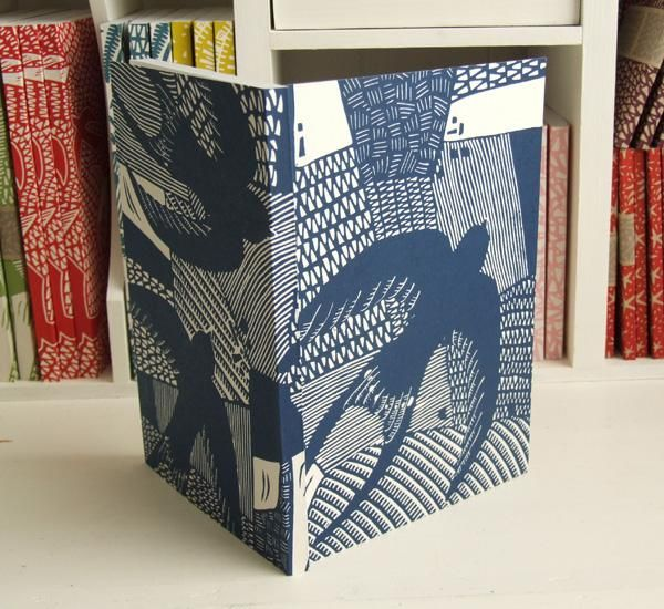 """Last blue swallows linocut journals flying out today from my @folksy shop. Black avail here.http://t.co/MEon2E8WDo"""