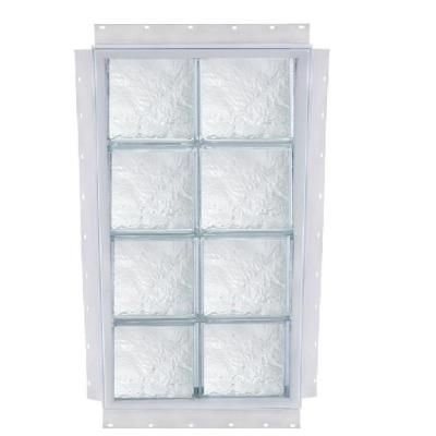Tafco Windows 16 In X 40 In Nailup Ice Pattern Solid Glass Block Window S1640dia The Home Depot Glass Block Windows Glass Blocks Window Construction