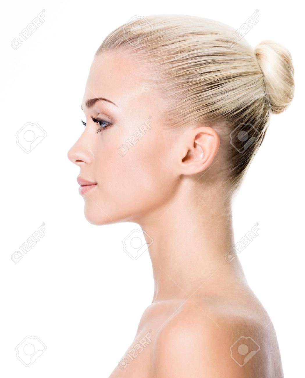17642694 Profile Portrait Of Young Blond Woman Isolated