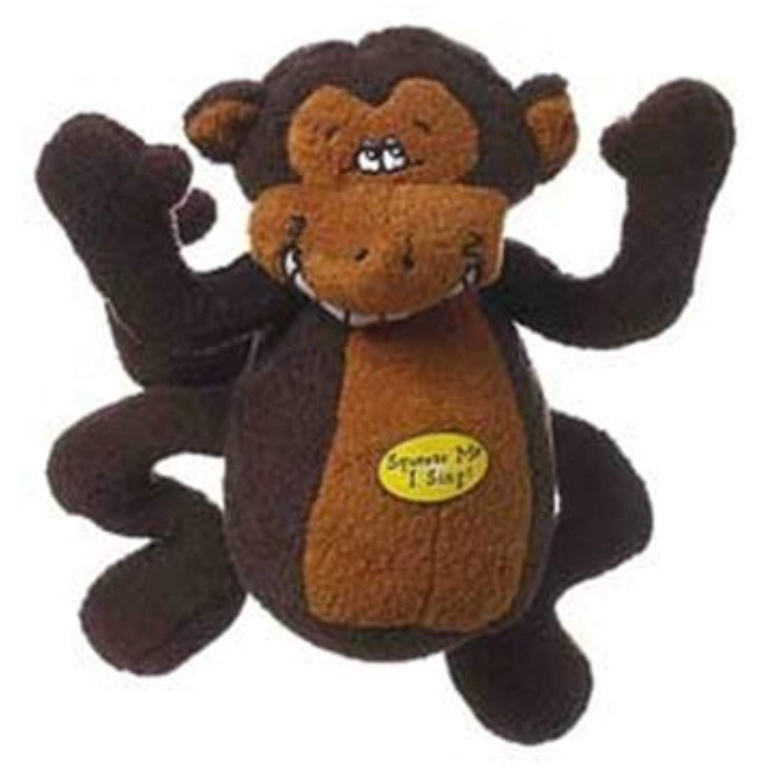 Multipet Deedle Dude 8 Inch Singing Monkey Plush Dog Toy Brown By