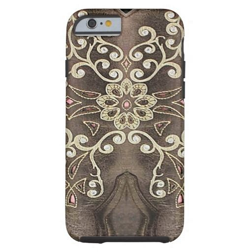 Rodeo Brown and Gold Western Leather Look Tough iPhone 6