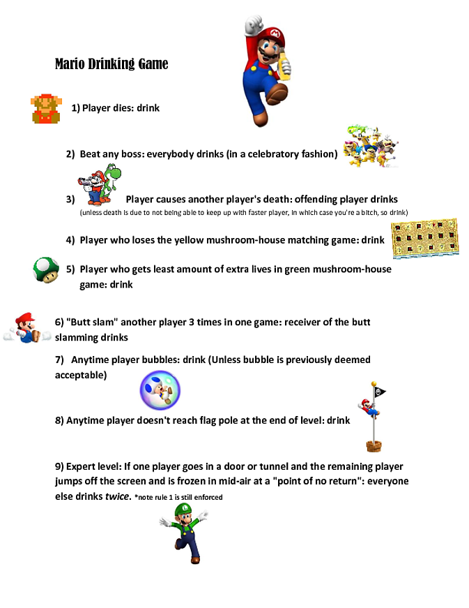 Mario Bros Wii Drinking Game Didn T Like The Rules We Found Online So We Made Our Own Cheers Drinking Games Super Mario Brothers Party Mario Birthday Party