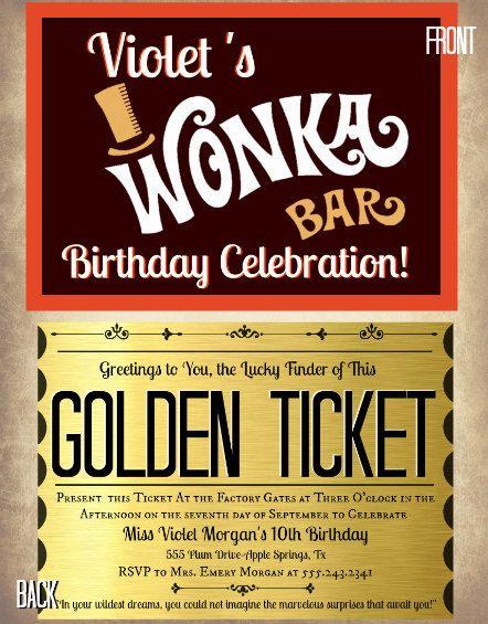 photograph regarding Wonka Golden Ticket Printable called printable Willy Wonka golden ticket invites Etsy keep
