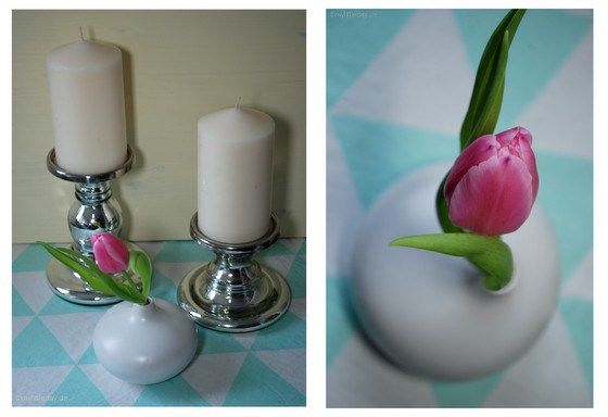 Lovely decoration in mint.... #spring #mint #tulip #candle #home