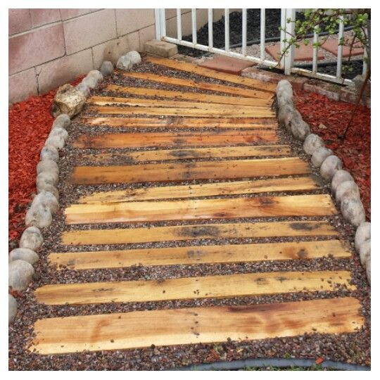 25 Lovely Diy Garden Pathway Ideas: Recycled Pallet Walkway. Each Slab From The Pallet Is