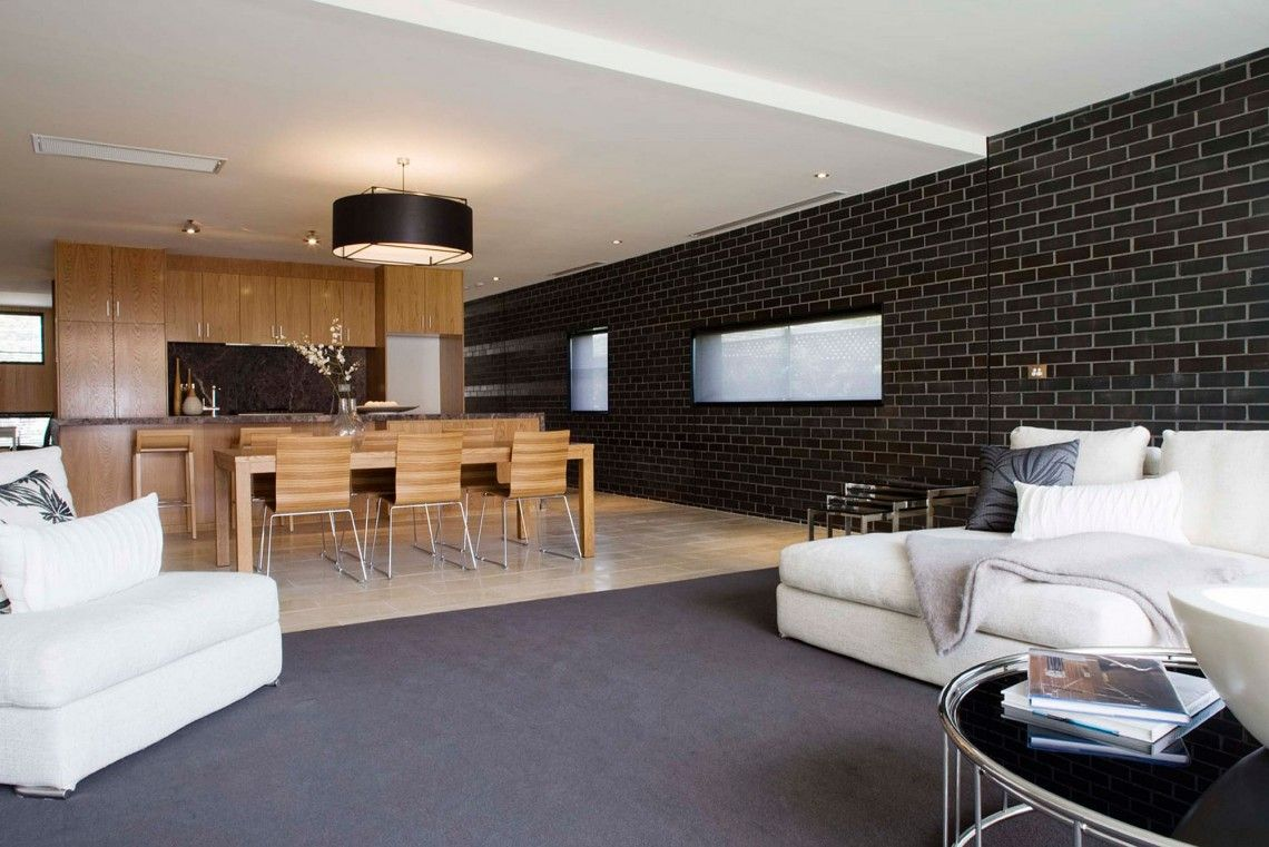 Living Room And Dining Room Design Ideas With Black Brick Wall Tiles Living Room And Dining Room Design Minimalist Living Room Apartment Minimalist Living Room