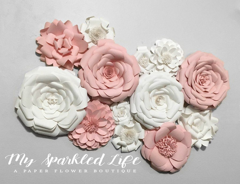 Pink and White Paper Flower Set Wall Decor  Nursery  Home  Photo