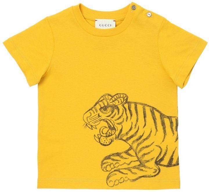 9bb55703a10e Gucci Tiger Printed Cotton Jersey T-Shirt
