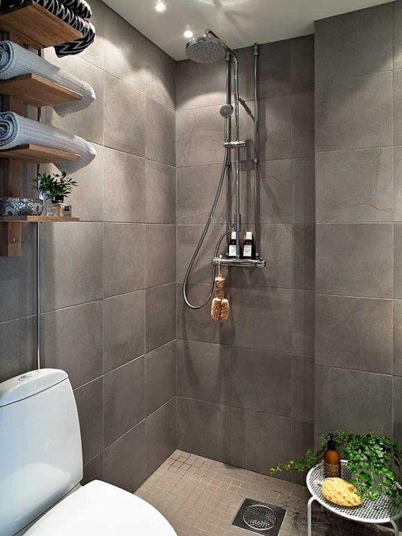 grey tile, open shower Bath Scandinavian bathroom