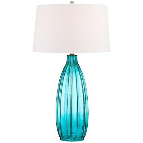 Stella 30 High Blue Fluted Glass Table Lamp 5h399 Lamps Plus Glass Table Lamp Table Lamp Modern Table Lamp