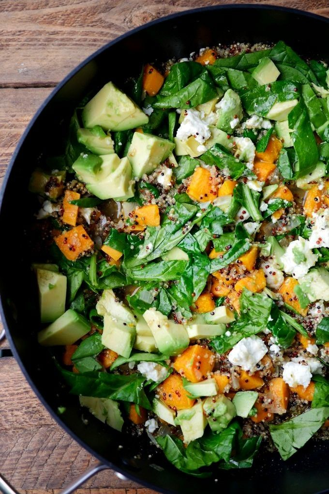 Pot Quinoa mit Spinat, Avocado und Süßkartoffeln -One Pot Quinoa mit Spinat, Avocado und Süßkar