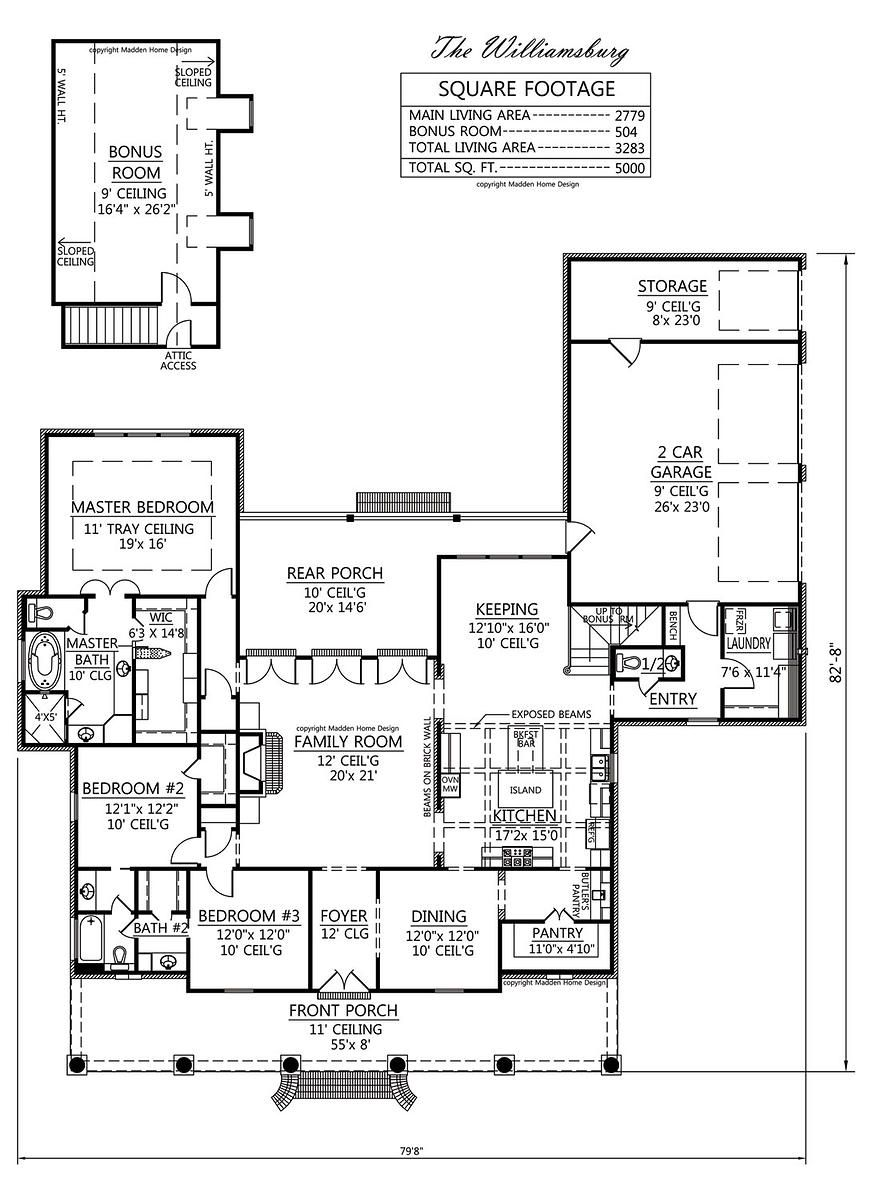 Madden Home Design The Williamsburg Would Like The Porch To Wrap Around The Kitchen And Add Acadian House Plans Madden Home Design French Country House Plans