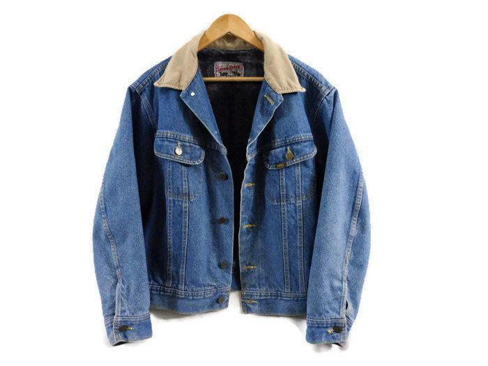 183c2b7edd22 Vintage Mens Lee Stormrider Mustang Denim Jacket - Small - Lined Jean Jacket  - Winter Jacket - Western Jacket - Cowboy Jacket - by BLACKMAGIKA on Etsy