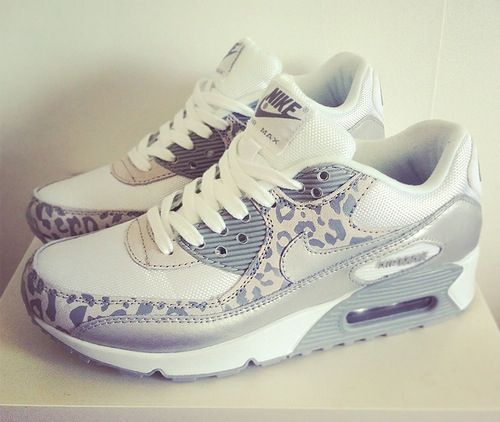 beb853f76faf ❤ grey and white nike trainers with leopard print ❤