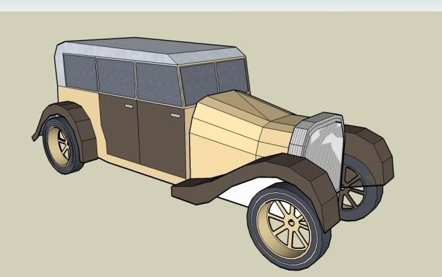 """Here a simple model, a vintage """"Calhambeque"""". Sketchup first time, very easy to build. Good for kids.  Sketchup and Pepakura files included in the .rar arquive. Download this free paper model at Papermau!"""