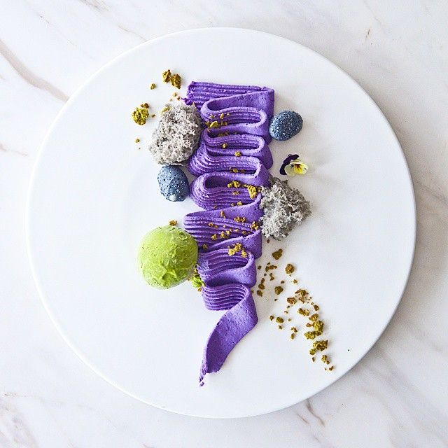 purple yam, chestnut, black sesame and matcha by atum_desserant on IG #plating #gastronomy #dessert