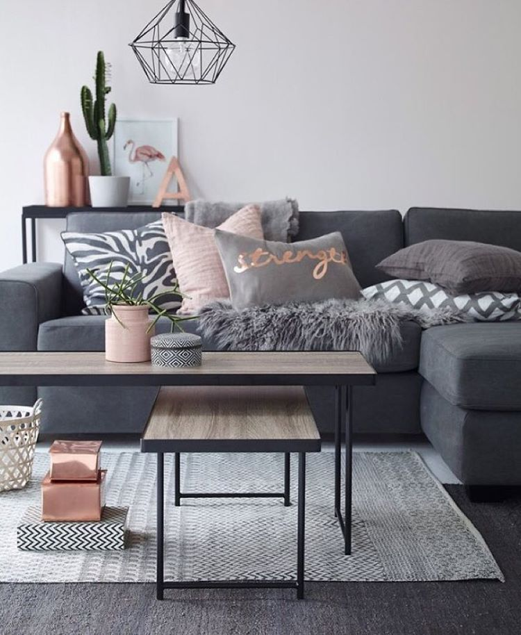 Living Room Design With Grey Sofa Alluring 💗 Living Room Colour Scheme Grey  Pink Blush With Grey Carpet Decorating Inspiration
