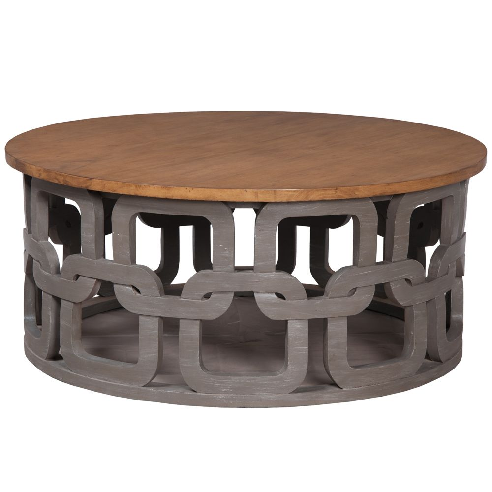 Gray Wash Round Coffee Table   Carved Pattern