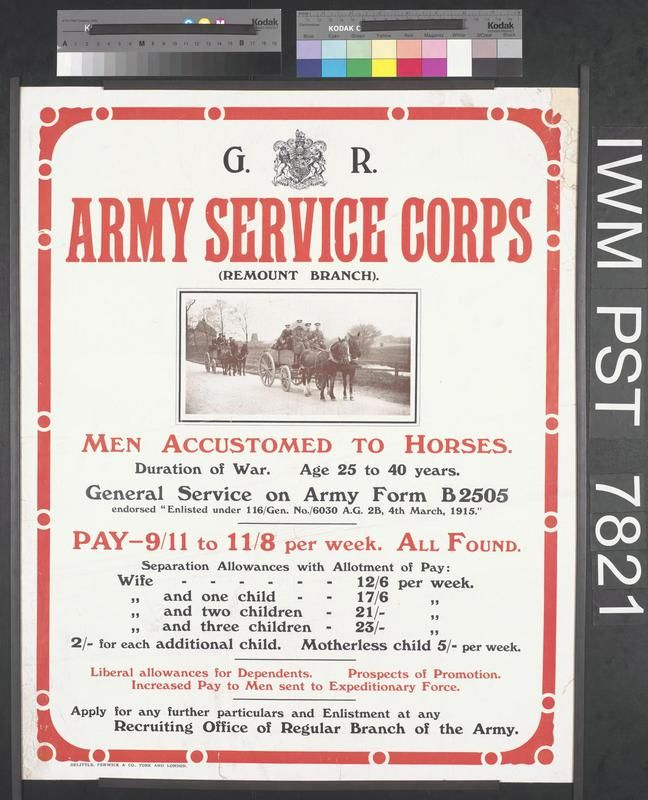Army Service Corps Recruiting Poster Ww  Army Service Corp Bef