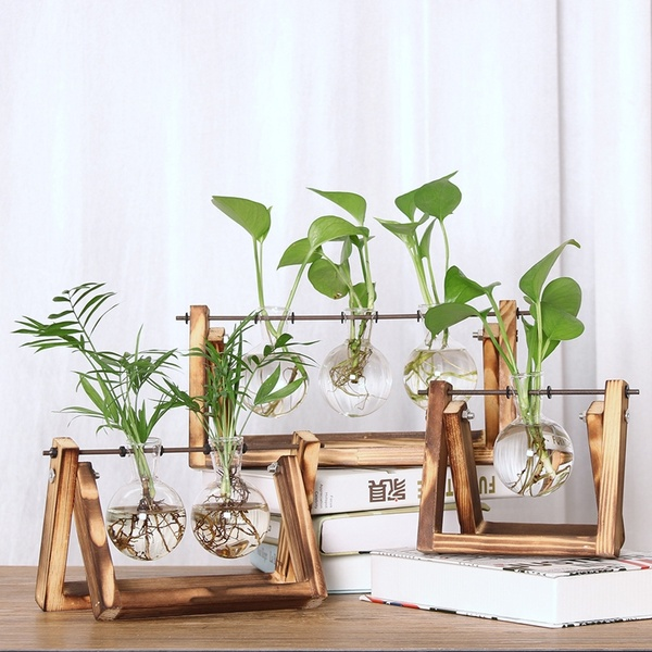 Desktop Glass Planter Bulb Vase with Retro Solid Wooden Stand and Metal Swivel Holder for Hydroponics Plants Home Garden Wedding Decor Office Decor