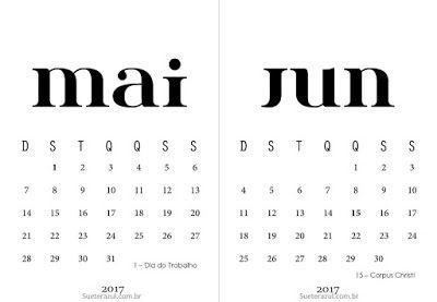 Calendários 2017 para Imprimir | Suéter Azul free printable calendar Brasil