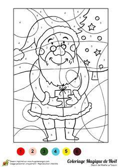 Illustration d'un père noël tenant un cadeau entre ses mains, à