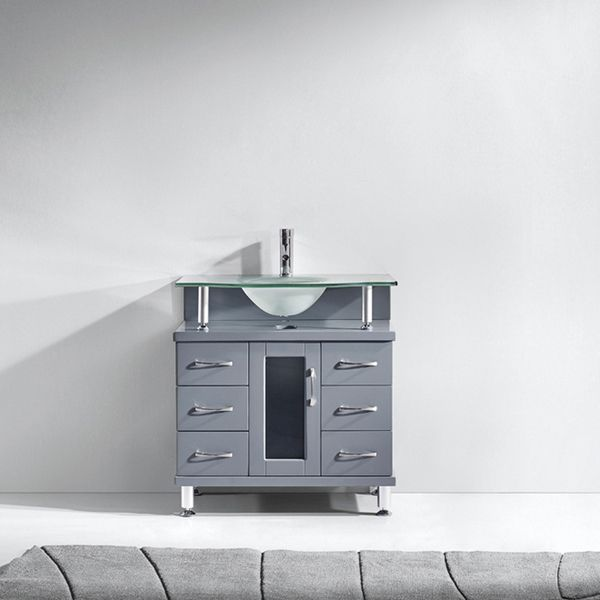 Vincente 32-inch Single Bathroom Vanity Cabinet in Grey Code Home