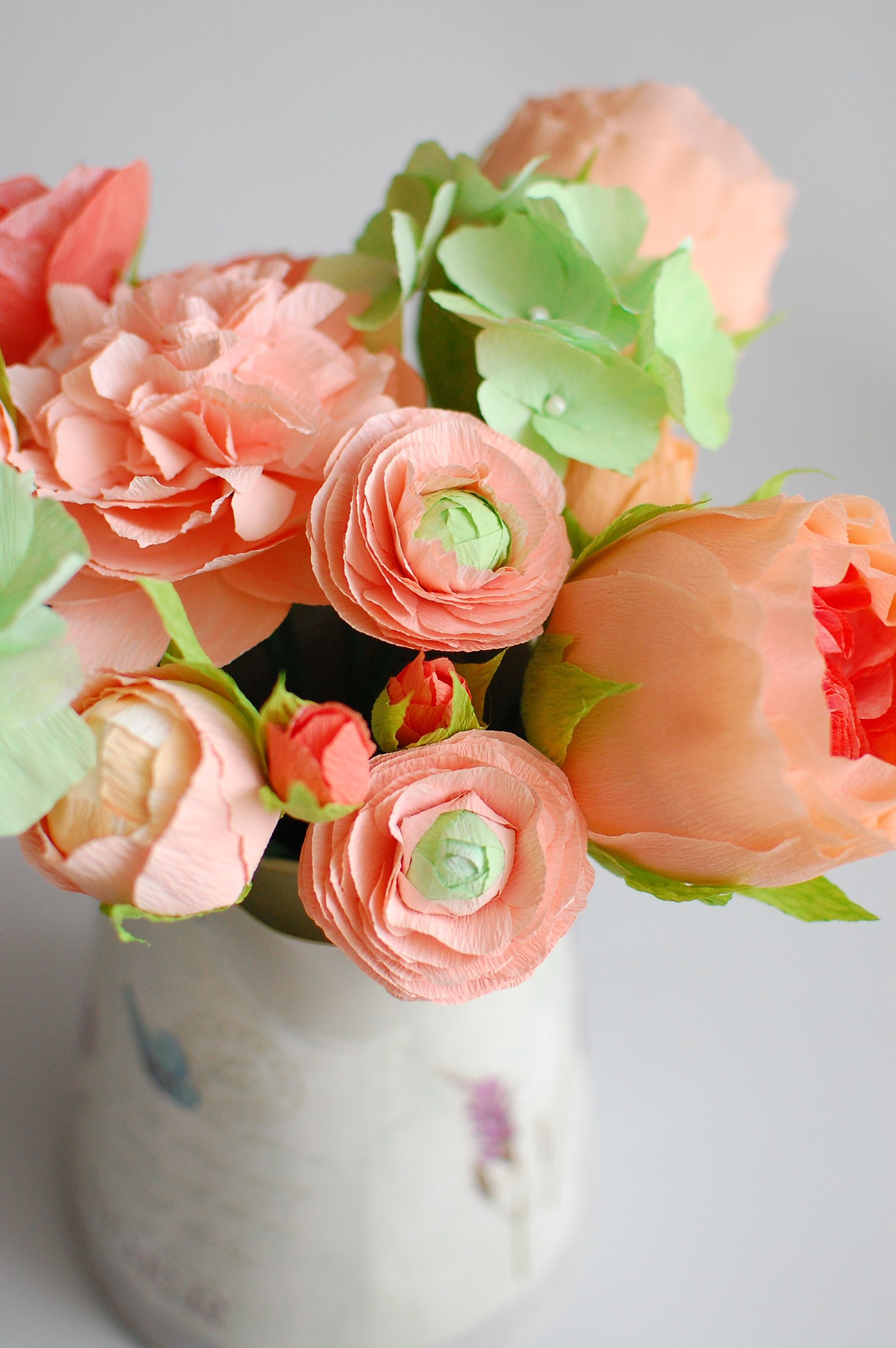 Salmon Pink With Apple Green Paper Ranunculus Paper Flowers