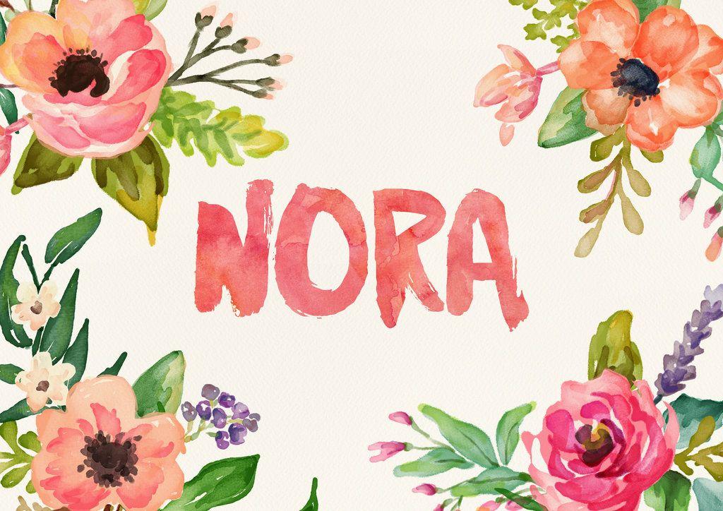 Custom watercolor lettering, name Nora. | Watercolor ...