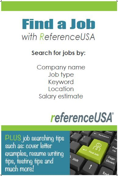 ReferenceUSA Jobs  Internships moduleJust one of many topics for - resume library