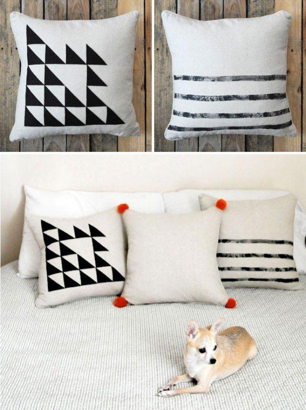 kissen einfach schwarz weiß geometrische figuren Wohnzimmer