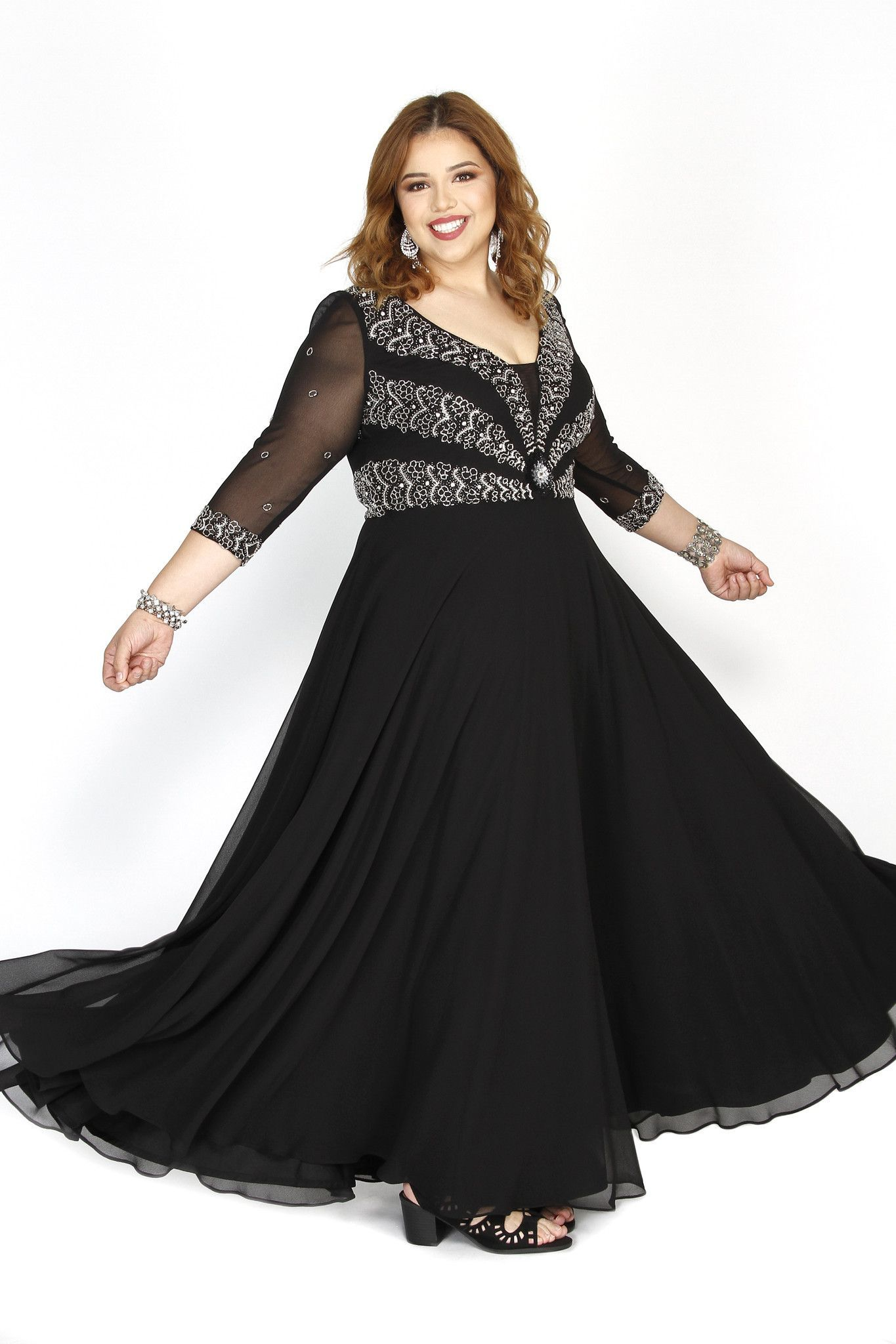 Kurves By Kimi Plus-Size Black Embellished Long Sleeve Dress 71195 ...