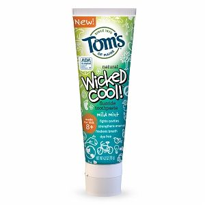Tom's of Maine Wicked Cool!  Anticavity Fluoride Toothpaste, Mild Mint - 4.2 oz (temp house)
