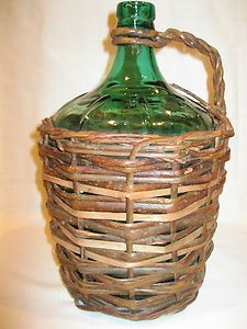 Vintage Antique Large Green Glass Wine Jug With Wicker Basket