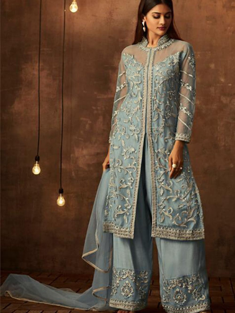 Sky Colored Heavy Embroidered Original Palazzo Suit ...
