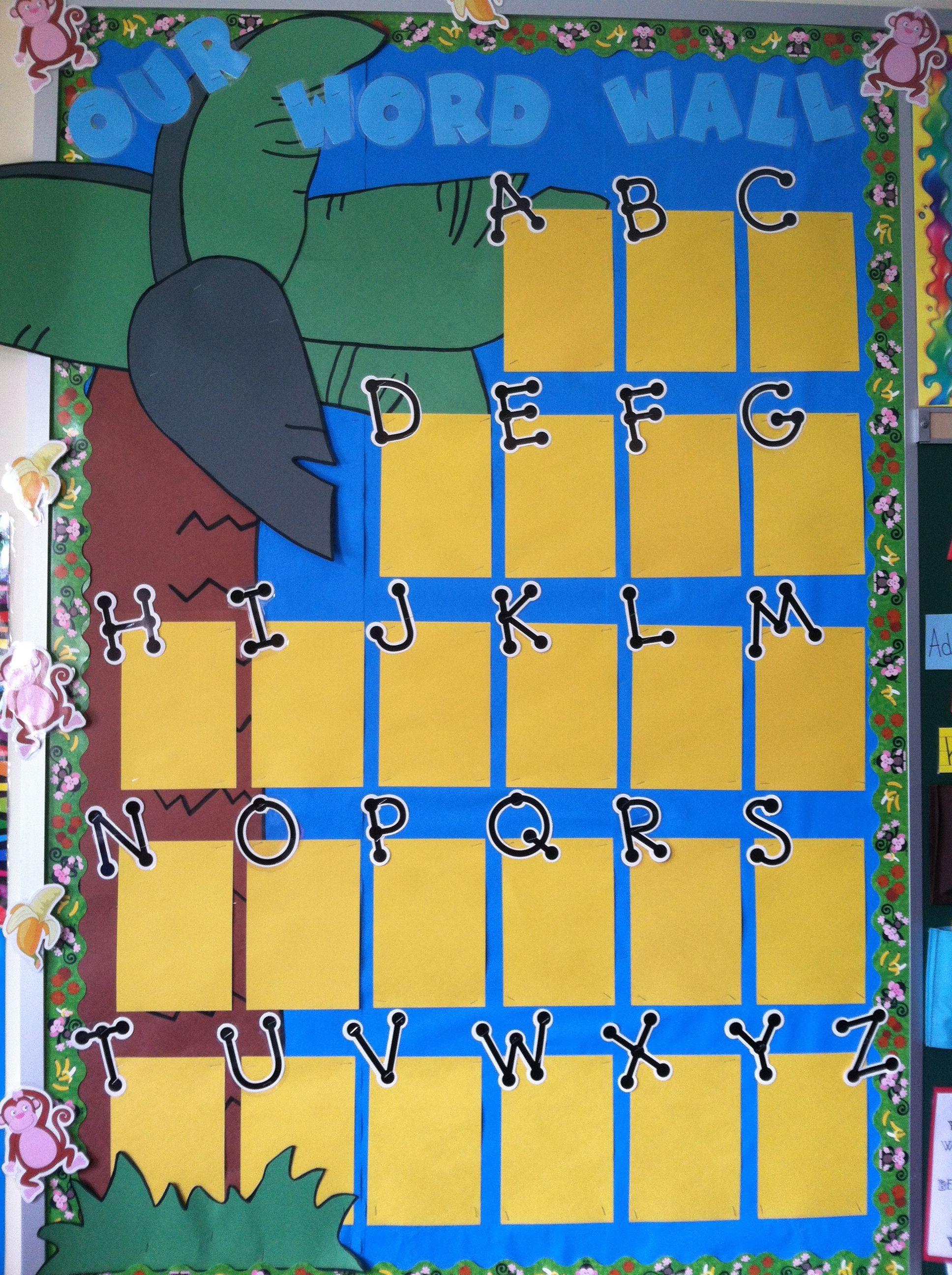 Monkey around word wall....I laminated the yellow blocks under each ...