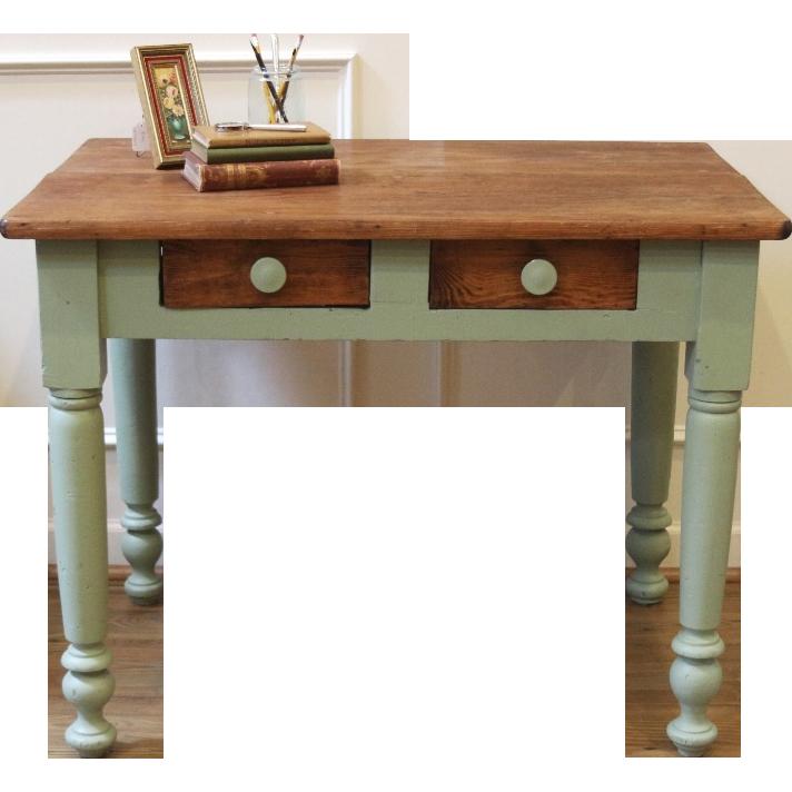 Antique Pine Desk. Painted, Primitive, Rustic, American, Late 1800's - Antique Pine Desk. Painted, Primitive, Rustic, American, Late 1800's