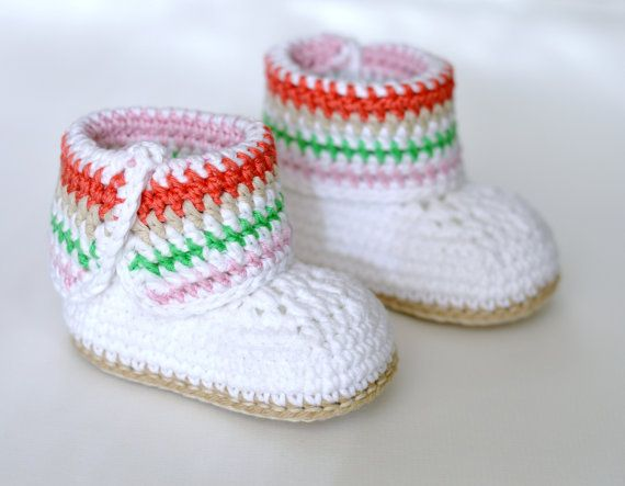 CROCHET PATTERN Baby Booties Stripy Cuff Crochet Boots for Baby in 2 ...