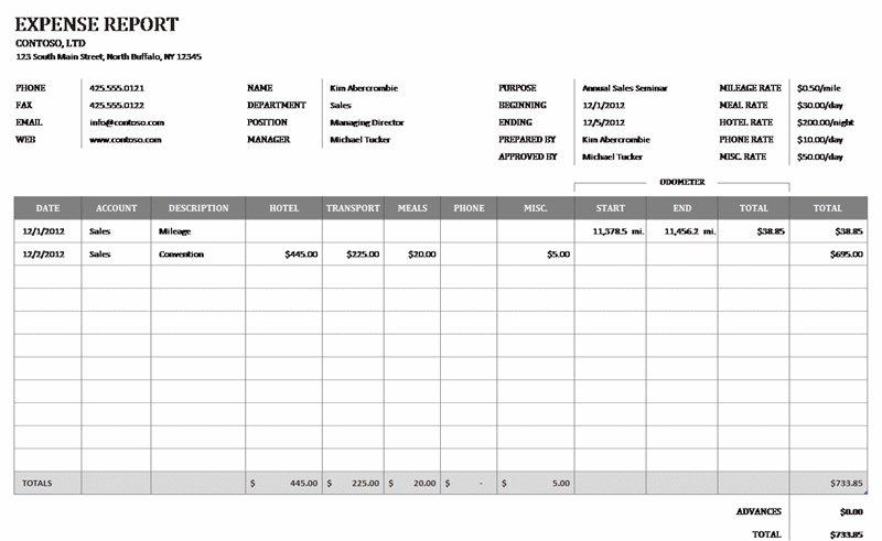 Download Business Expense Reimbursement Form For Microsoft Excel