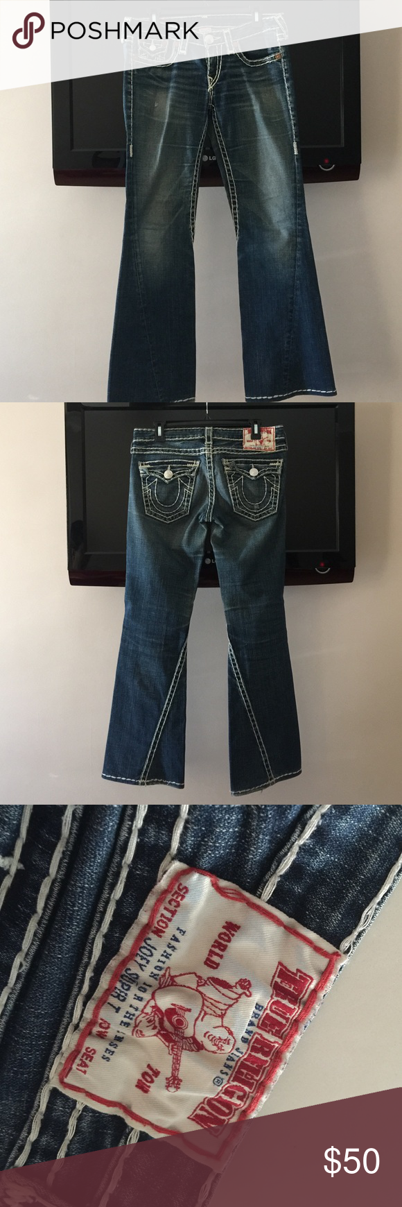 True Religion Jeans Straight leg jeans with stitches True Religion Jeans Straight Leg